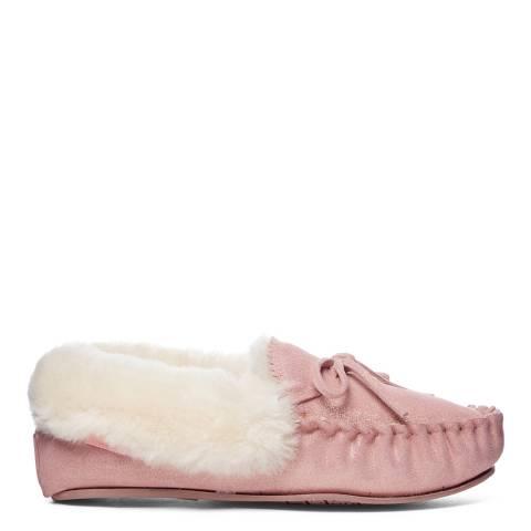 Fenlands Sheepskin Women's Pink Crimp Edge Sheepskin Moccasin Slipper