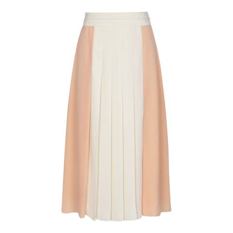 Reiss Nude/Off White Abigail Pleat Skirt