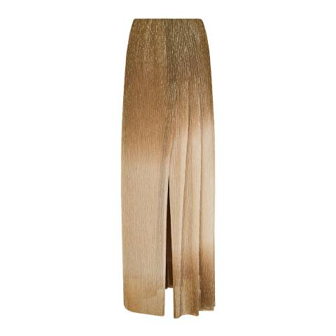 Reiss Gold Emmeline Lurex Maxi Skirt