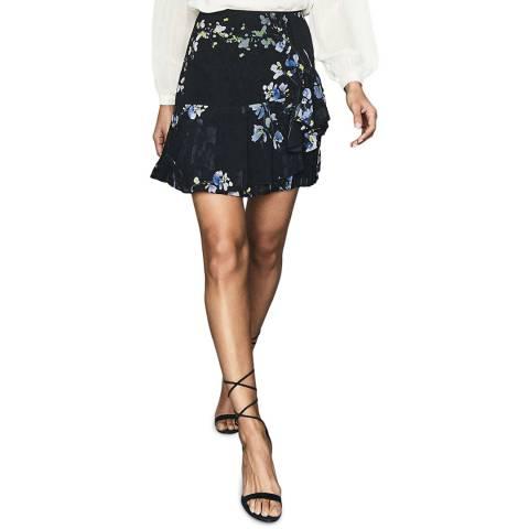Reiss Navy Helen Floral Flippy Skirt