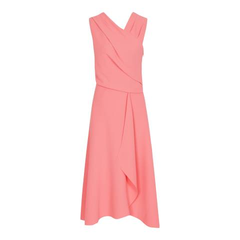 Reiss Pink Marling Wrap Front Dress