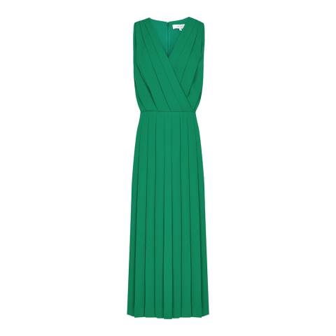 Reiss Green Mariona Pleat Midi Dress