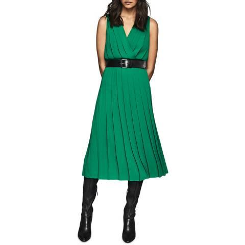 Reiss Green Mariona Pleat Midi Dress