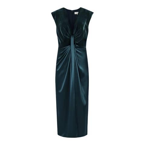 Reiss Teal Livvy Plunge Dress