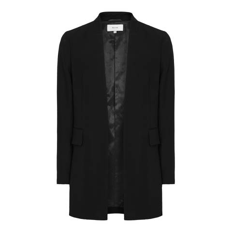 Reiss Black Tally Collarless Blazer