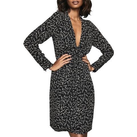 Reiss Black/Multi Julia Zig Zag Dress
