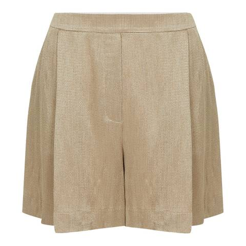 Reiss Pale Gold Ayla Fluid Textured Shorts