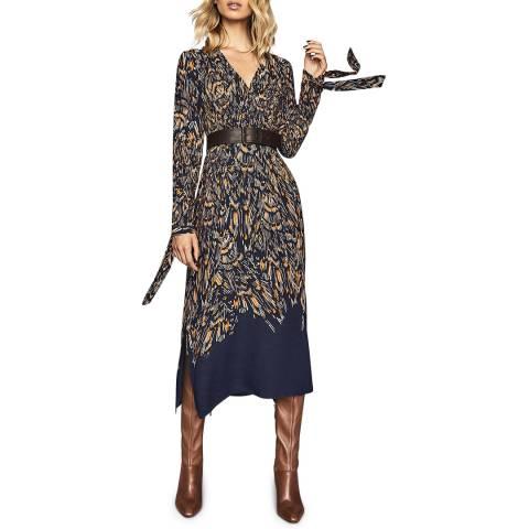 Reiss Navy Erin Feather Midi Dress