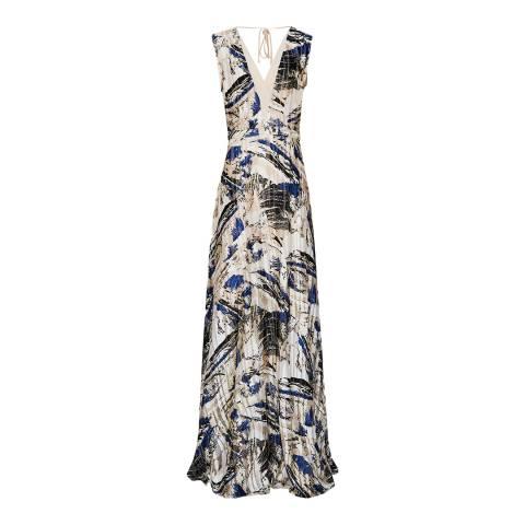 Reiss Blue/White Alexi Marble Dress