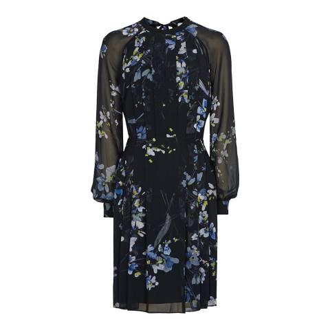 Reiss Navy Nettie Floral Dress