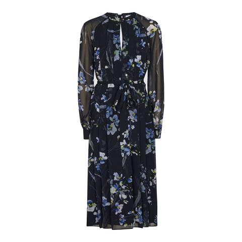 Reiss Navy Hetty Floral Midi Dress