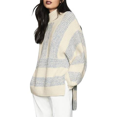 Reiss Cream/Grey Astrid Oversized Jumper
