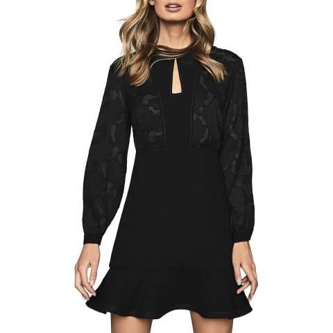 Reiss Black Pippa Stabstitch Dress