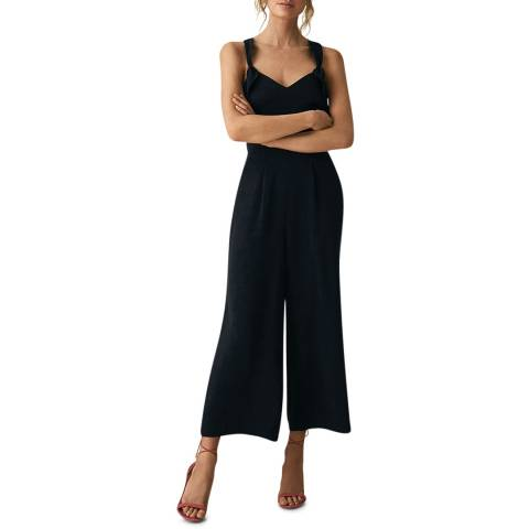 Reiss Navy Amika Bow Back Jumpsuit