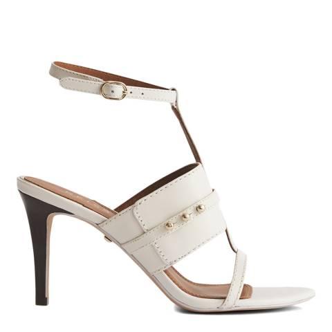Reiss White Jordan Leather Heeled Sandals