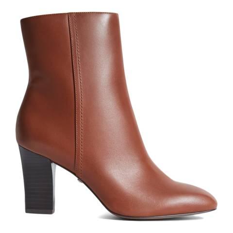 Reiss Tan Ruby Leather Block Heel Boots
