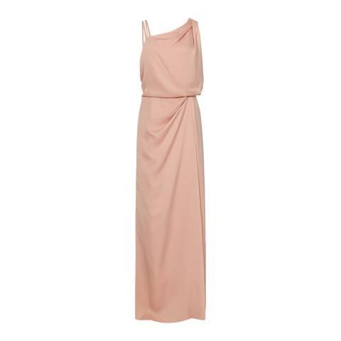 Reiss Pink Ostia Drape Maxi Dress