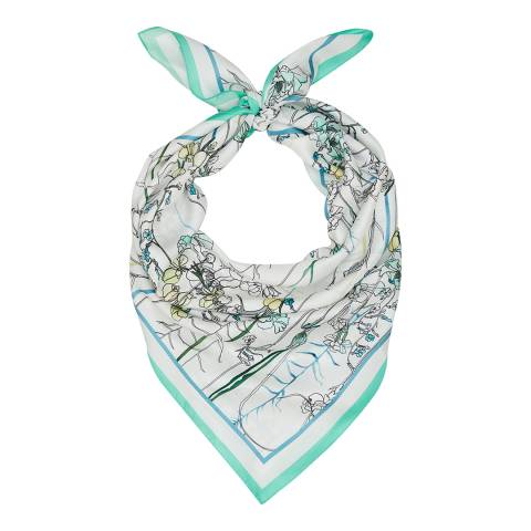 Reiss White/Aqua Maria Silk Scarf