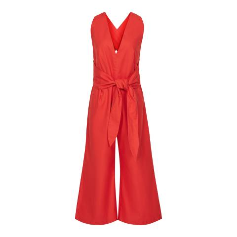 Reiss Red Daphne Plunge Cotton Jumpsuit