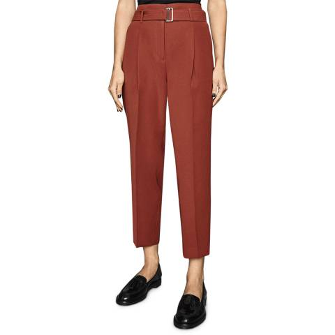Reiss Rust Cacey Crepe Tapered Trousers