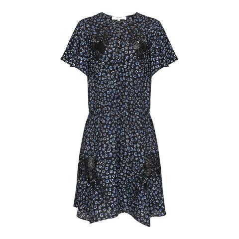 Reiss Navy Amalia Ditsy Lace Dress