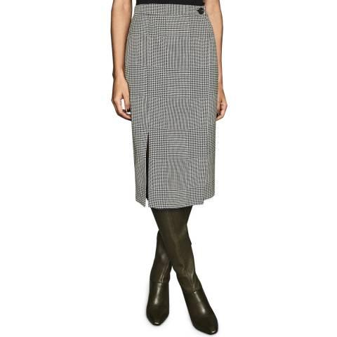 Reiss Black/White Tyler Tailored Skirt