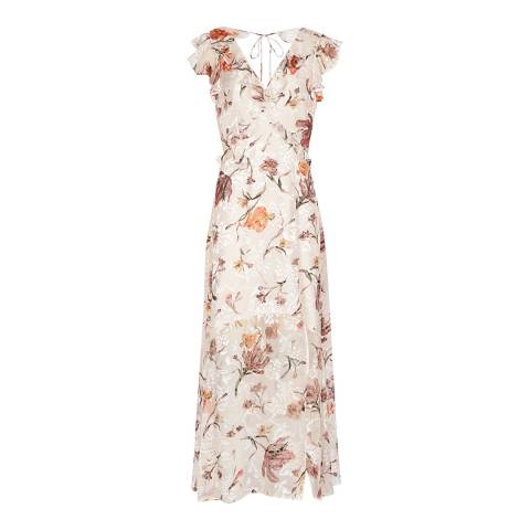 Reiss Nude Leila Burnout Maxi Dress