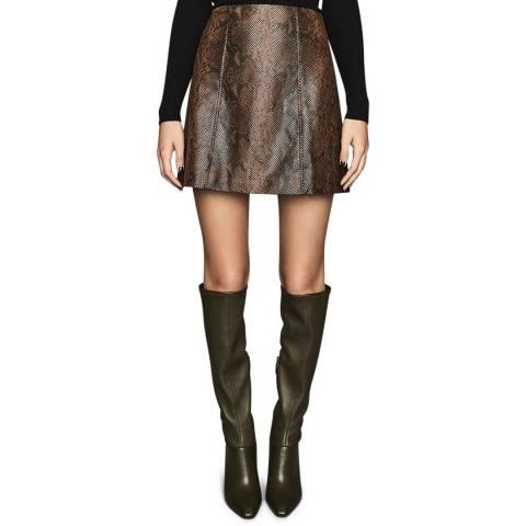 Reiss Brown Bethann Leather Mini Skirt