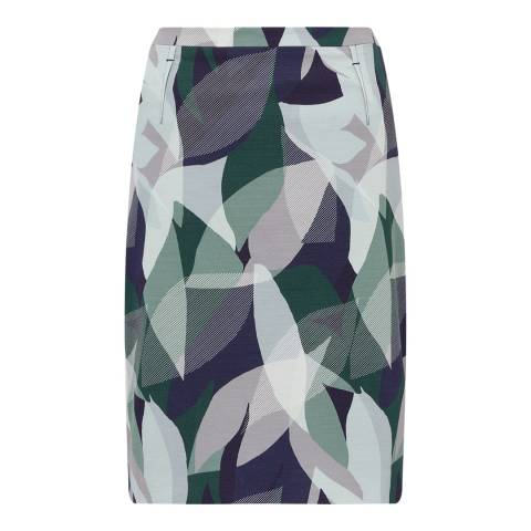 Jigsaw Green Woven Leaves Pencil Skirt