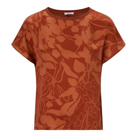Jigsaw Toffee Woodland Floral Silk Front Top