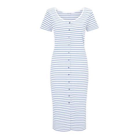 Jigsaw Blue Stripe Button Through Jersey Dress