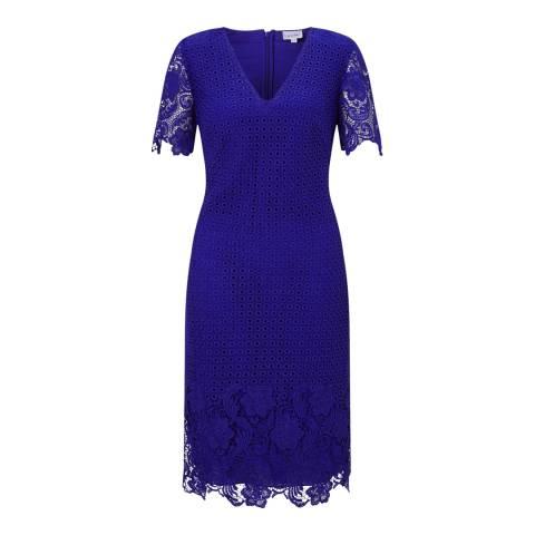 Jigsaw Blue Engineered Lace Dress