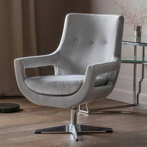 Gallery Venosa Swivel Chair, Grey Velvet