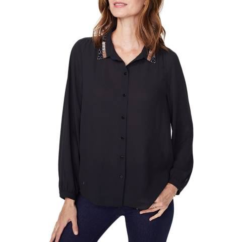 NYDJ Black Embellished Modern Blouse