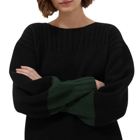 Chinti and Parker Black/Juniper Belle Cashmere Sweater