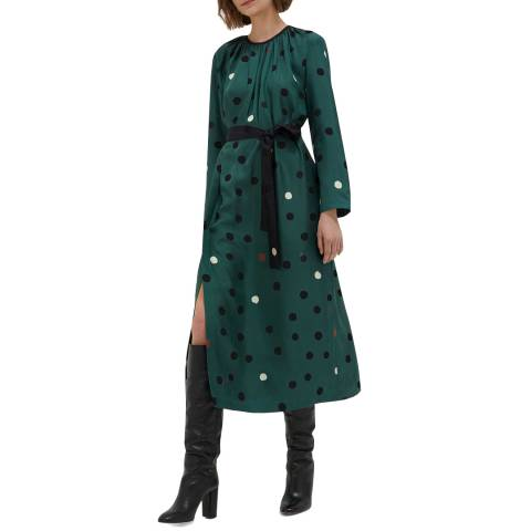 Chinti and Parker Juniper Painted Spot Silk Dress