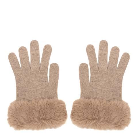 Laycuna London Beige Faux Fur Trim Cashmere Gloves