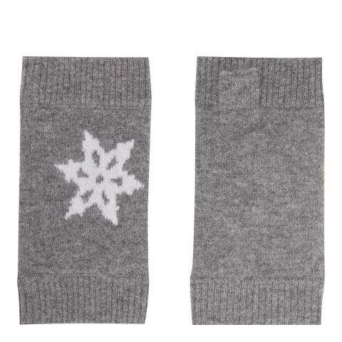 Laycuna London Grey Marl/White Cashmere Snowflake Mittens