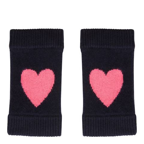 Laycuna London Navy/Pink Cashmere Heart Wrist Warmer