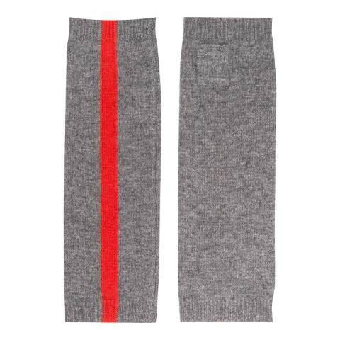 Laycuna London Grey/Red Stripe Trim Cashmere Wrist Warmer
