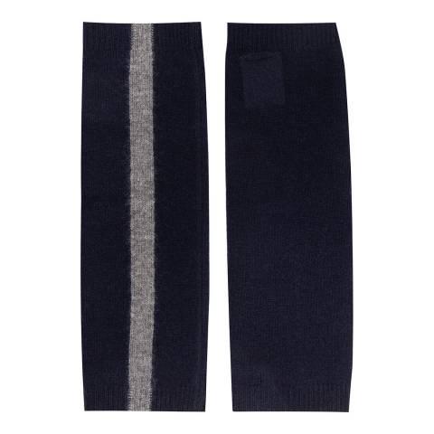 Laycuna London Navy/Grey Marl Stripe Trim Cashmere Wrist Warmers