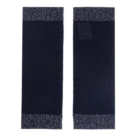 Laycuna London Navy/Gold Lurex Stripe Cashmere Wrist Warmers