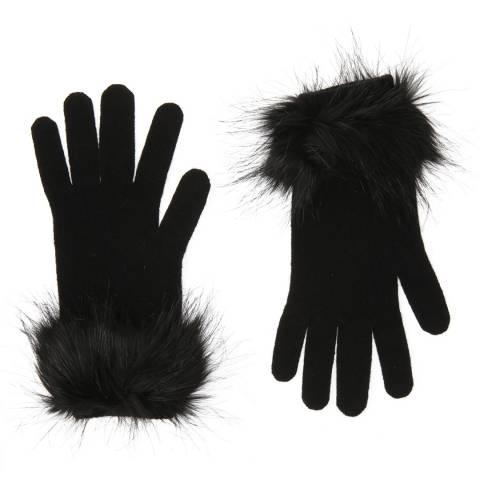 Laycuna London Black Faux Fur Trim Cashmere Gloves