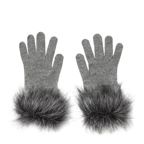 Laycuna London Grey Faux Fur Trim Cashmere Gloves