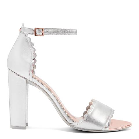 Ted Baker Silver Leather Raidhal Heeled Sandals