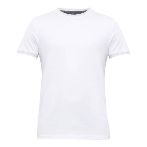 Ted Baker White Pik Solid Cotton T-Shirt