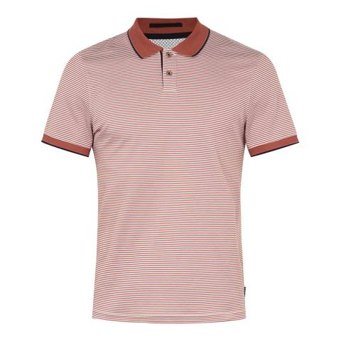 Ted Baker Mid Orange Gingen Striped Cotton Polo