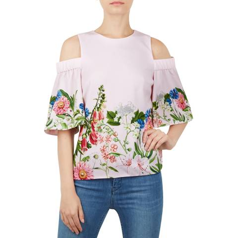 Ted Baker Light Pink Beyaa Cut Out Shoulder Top