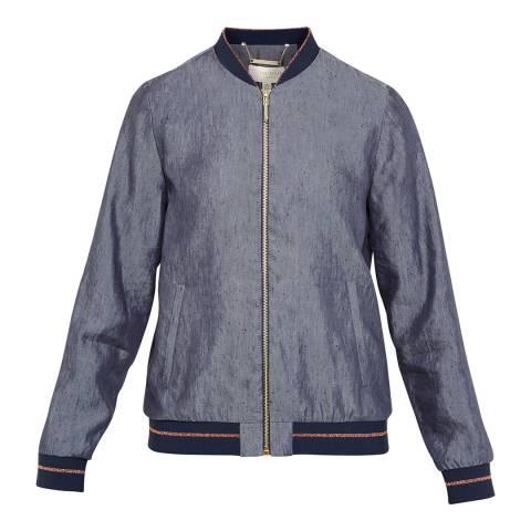 Ted Baker Navy Cannock Zip Front Linen Jacket