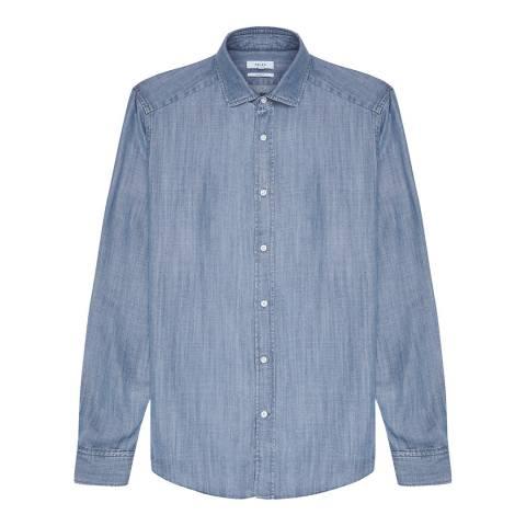 Reiss Mid Blue Orlando Tencel Chambray Shirt